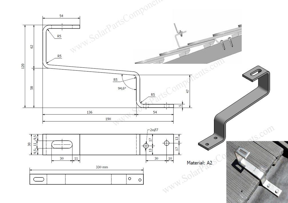 customized solar panel flat tile roofing hooks