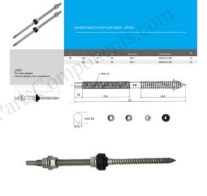 Hanger Bolts M10 x 200mm , SUS304, A2