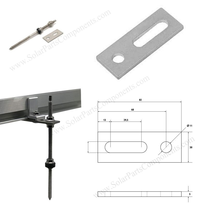 hanger bolts for solar panel mounting with flat plate