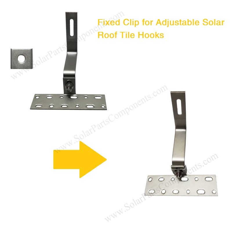 Fixed clip for adjustable solar roof hooks