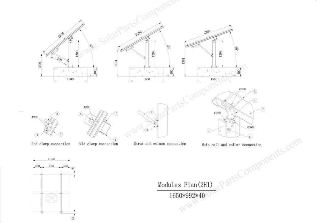 Solar Panel Pole Ground Mounting Systems Angle Adjustable