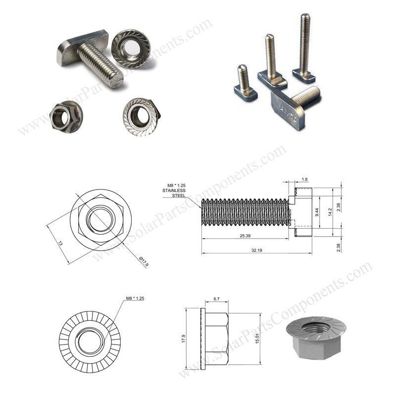 T slot bolts for solar panel
