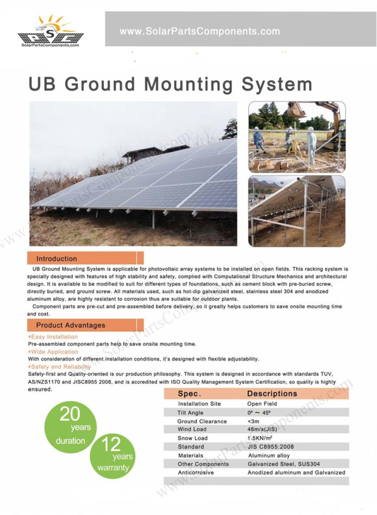 "UB ground mounting system ""N"" type with ground screws"