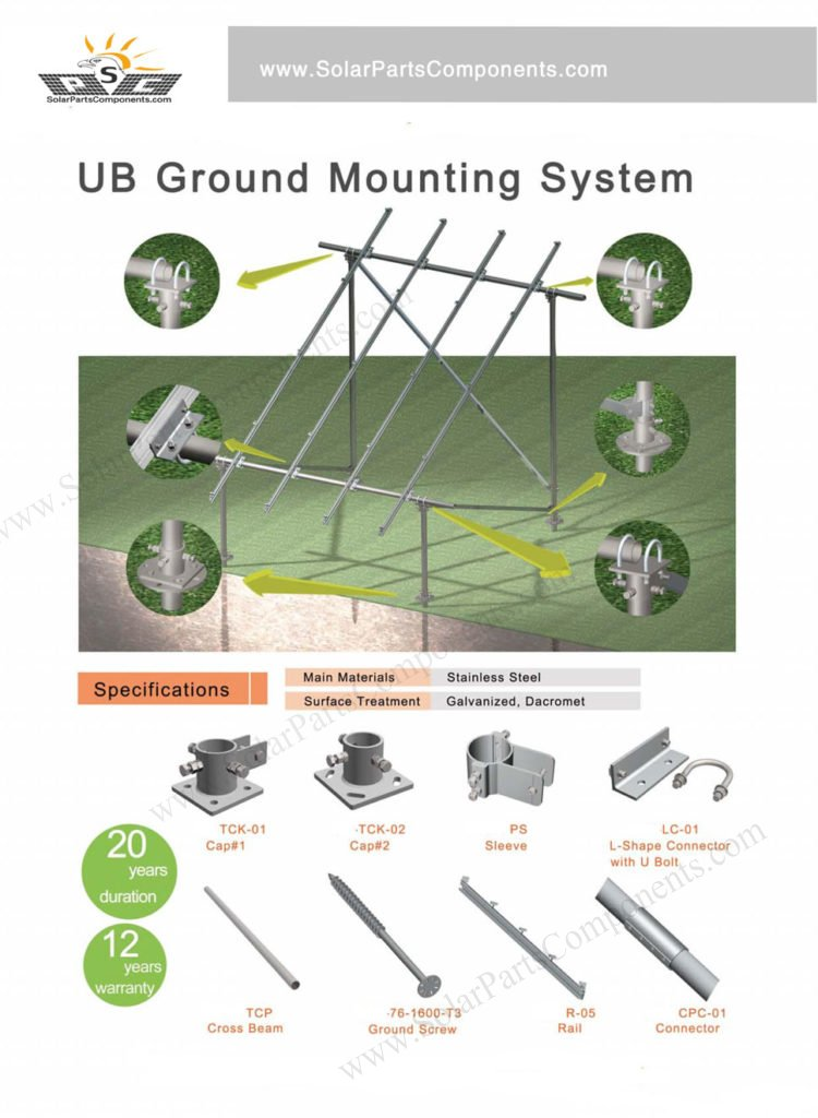 "carbon steel ground mounting system ""N"" type with ground screws"
