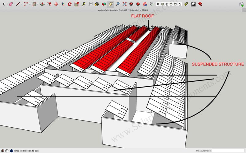 Ballasted Flat Roof Mounting Systems Project planta