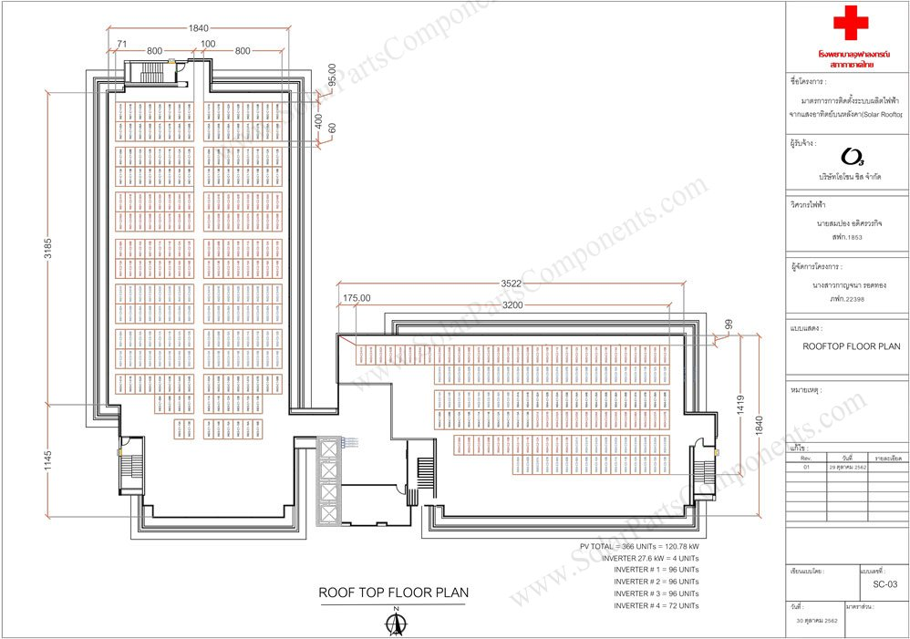 700KW, Thailand Solar Panel Mounting Project , Roof top floor plan