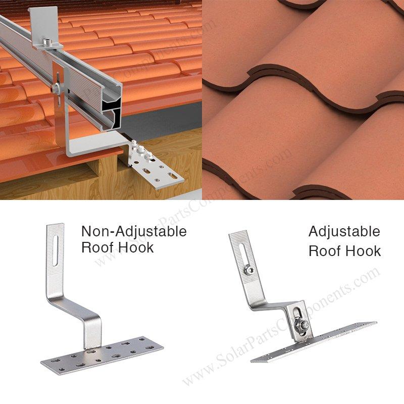adjustable tile roof hook and non-adjustable tile roof hook