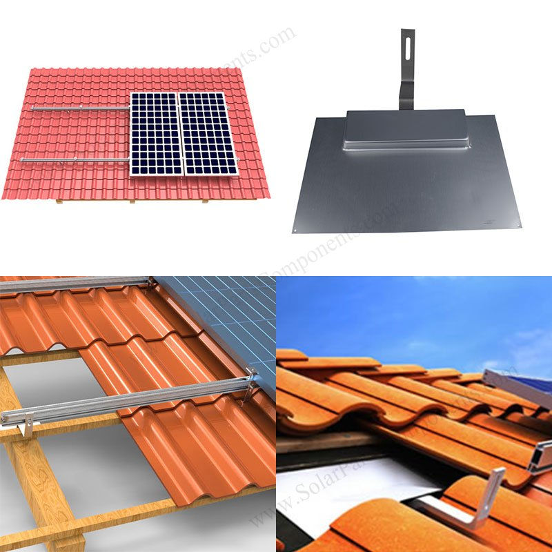 solar roof flashing for curved tiles