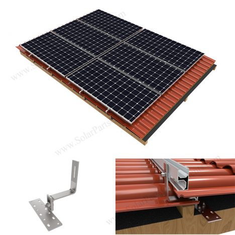 Solar tile roof hook mounting system