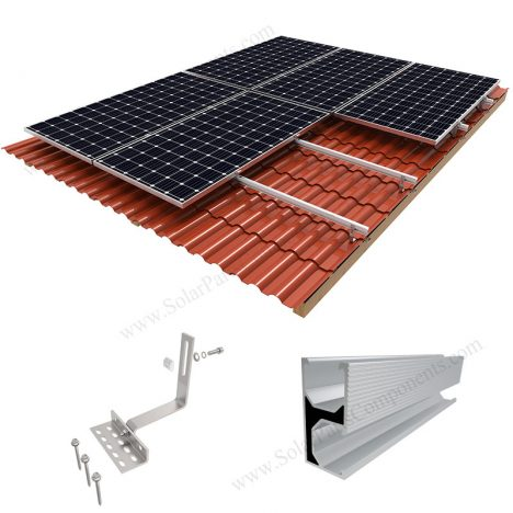 solar mounting with tile roof hooks