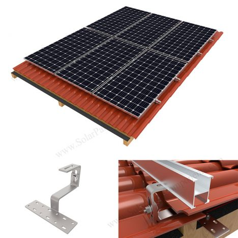 photovoltaic panel installation for tile roof
