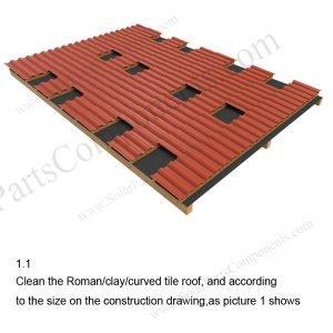 Solar Tile Roof Hooks Installation,SPC-RF-IK01-DR-1.1-1