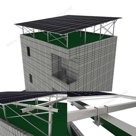 BIPV roof system for flat concrete rooftop